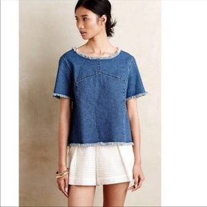 Maeve Anthropologie Denim Short Sleeve Top
